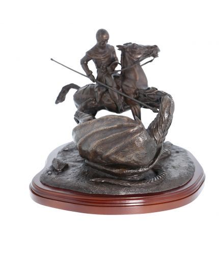 This is our St George and Dragon statuette. He's fighting the Dragon and it is made in the 8 inch scale, (overall height 14 inches). The presentation piece makes a lovely retirement or long service gift. we include the wooden base and the engraved brass p