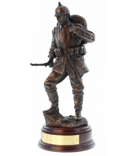 "As part of our collection of World War 1 Sculptures we are adding a German Infantryman and this is a Bronze cold cast resin sculpture standing 12"" (30cm) tall. We depict a standard infantry private from the Western or Eastern Front"
