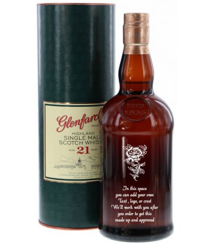 21 year old 70cl bottle of Glenfarclas Single Malt Scotch Whisky fully engraved. The set up and engraving is included and we'll sort out the excat engraving details after you order.