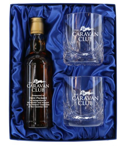 Glenfarclas Single Malt Scotch half bottle and two crystal whisky tumblers boxed and engraved. The set up and engraving is included and we'll sort out the excat engraving details after you order.