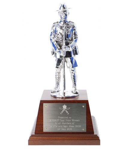 This is the Electroformed Silver vesion of our 8 inch tall statue depicting a Gurkha Soldier in World War 1. The sculpture is based on the Brigade of Gurkhas Memorial in London.