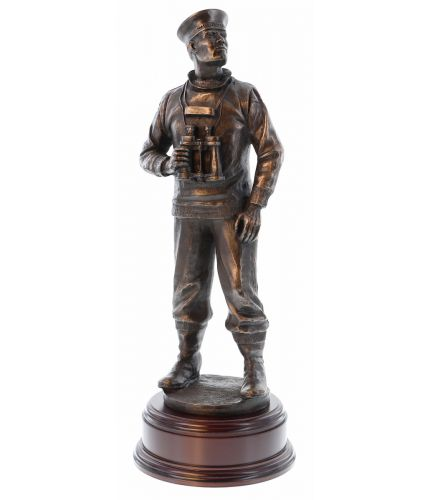 "HMS Submariner standing 14"" Tall. This sculpture is widely used within the Royal Navy Submarine Service and an end of career, retirement, promotion or long service gift. Within the Senior Rates Mess at Faslane and Devonport they our sculptures make excell"