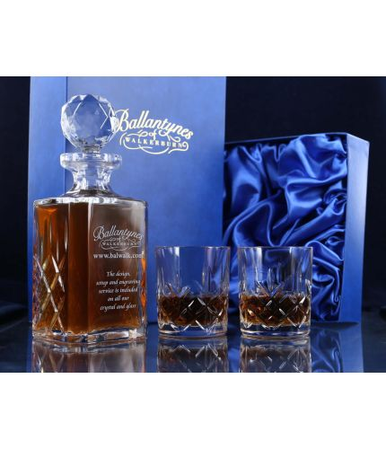 Crystal gift boxed set of a hand engraved decanter and two fully cut tumblers
