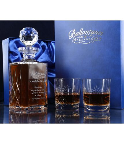 Crystal square decanter and two tumblers in a gift box, personalised hand engraving on the decanter is included.