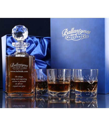 A panel whisky crystal hosting set consisting of a Decanter and four tumblers. We offer free engraving in the front panels of each item and the set is completed inside a dark blue satin lined presentation box.