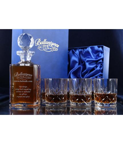 A mixed style of whisky crystal hosting set consisting of a Decanter and six tumblers. We offer free engraving in the front panel of the decanter. The set is completed inside a dark blue satin lined presentation box.