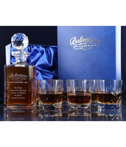 Crystal square decanter and six tumbler in gift boxes, personalised hand engraving is included