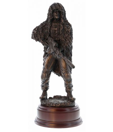"12"" scale cold cast bronze resin sculpture of a British Army Sniper with the L115A3 rifle. Becoming a sniper is one of the most difficult specialisations in the infantry. We include a brass engraved plate if required"