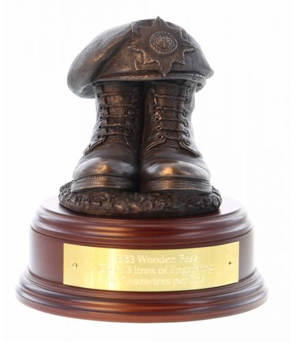 Grenadier Guards Boots and Beret, cast in cold resin bronze and mounted on a square presentation base with included optional engraved brass plate.
