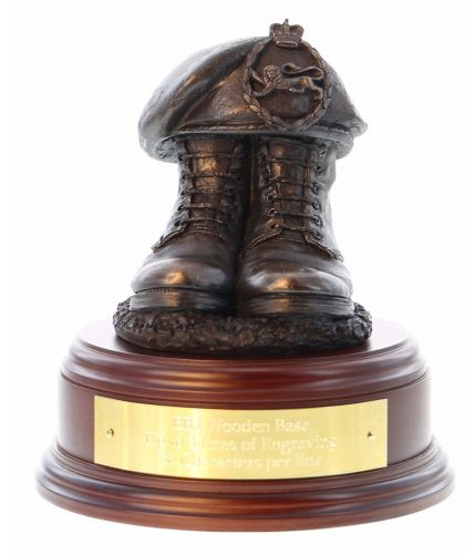 Kings Regiment Boots and Beret, cast in cold resin bronze and mounted on a square presentation base with optional engraved brass plate.