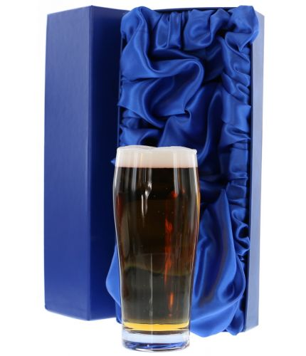 An engraved Lager Glass in a hand crafted satin lined blue presentation box. The price includes all engraving with text and images of your choice.