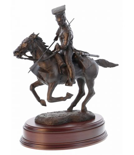 "16th ""The Queen's Lancers"" Lancer, British Cavalry, Aliwal, 1846, Bronze. We offer this wooden base as standard and a free engraved brass plate."