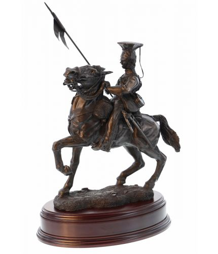 The Charge of the Light Brigade, 17th Lancer, Cavalryman, Bronze Statue. Sold with the wooden base you see here as standard and an engraved brass plate.