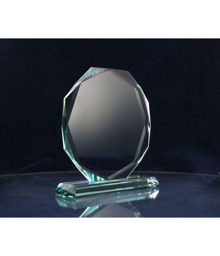 Glass Hexagon Award, 21cm Tall Engraved