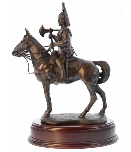 "This is a 14"" tall sculpture of a Life Guard Cavalry Regiment Farrier.  We mount for finished piece on its own wooden base and can add an engraved plate with the text of your choice."