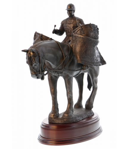 "This is a very impressive statue standing 16"" tall of a Drum Horse of the Life Guards Cavalry Regiment. If you order the standard bronze or painted sculpture we automatically include this base and an engraved brass plate."