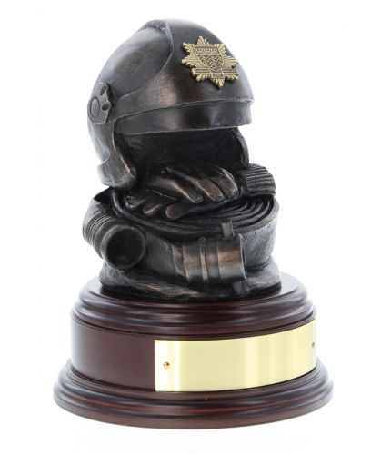 This is the British Fire & Rescue Service. Cromwell Helmet, Gloves and Hose. On the bases that fit one we includes a personalised engraved jewellers brass plate at no extra charge, just add your wording in the options above.
