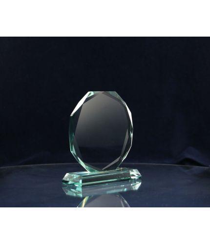 Glass Hexagon Award, 16.5cm Tall, Engraved