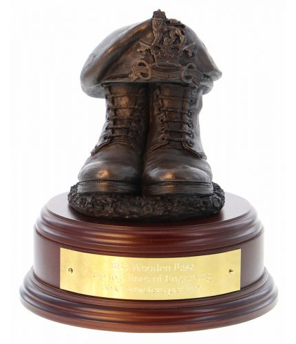 Military Provost Guard Service Boots and Beret, cast in cold resin bronze and mounted on a square presentation base with included optional engraved brass plate.