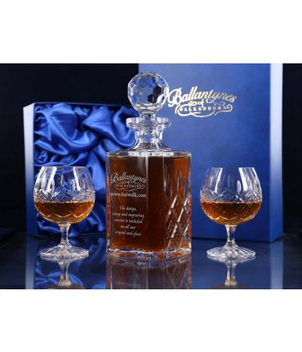 Panel Brandy Decanter and two fully cut goblets mounted into a blue satin lined presentation box. This is the Mixed style and therefore we can only  engrave on the decanter.