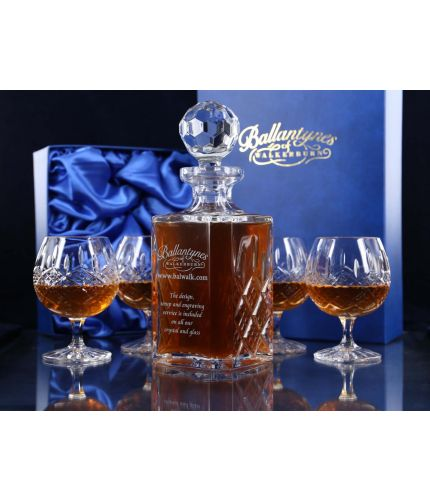 Panel Brandy Decanter and four fully cut goblets mounted into a blue satin lined presentation box. This is the Mixed style and therefore we can only engrave on the decanter.