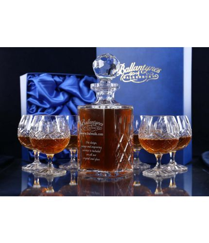 A Mixed Panel cut brandy decanter with 6 fully cut brandy goblets. We offer free engraving in the front panel of the decanter and the set is completed inside two dark blue satin lined presentation boxes.