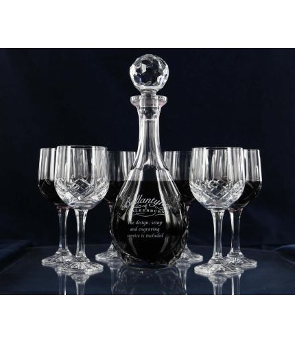 This is a 5 piece Red Wine Hosting Set consisting of a Wine Decanter and 4 Red Wine Glasses. They are Mixed in Style which means that the glasses are fully cut and the decanter is panel. We can only offer engraving on the decanter and we undertake this as