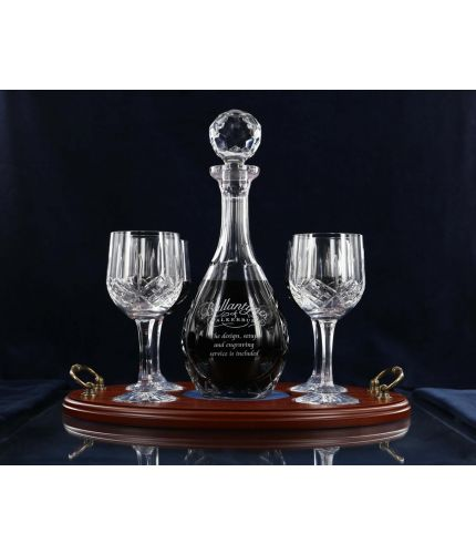 This is a 5 piece Red Wine Serving Tray Set consisting of a Wine Decanter, 4 Red Wine Glasses and a wooden serving tray. They are Mixed in Style which means that the glasses are fully cut and the decanter is panel.