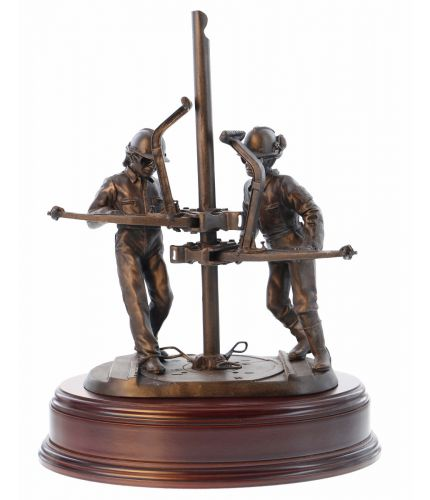 Bronze Sculpture depicting two Riggers or 'Roustabouts' involved in oil & gas exploration. This presentation piece makes an excellent long service, safety or retirement gift. The Wooden base and engraved plate are included.