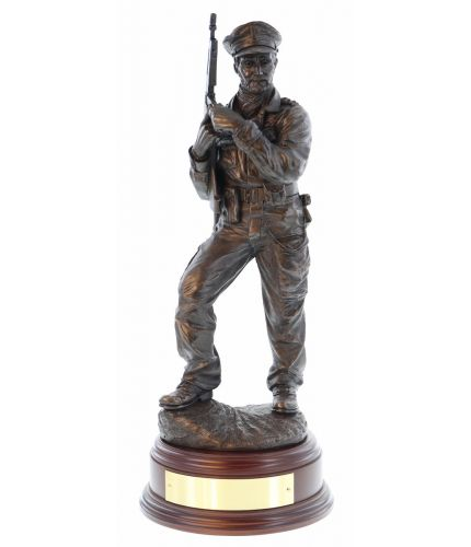 "A 12"" scale sculpture of Paddy Blair Mayne, one of the founding members of the Special Air Service. We include the wooden base and an engraved brass plate as standard."