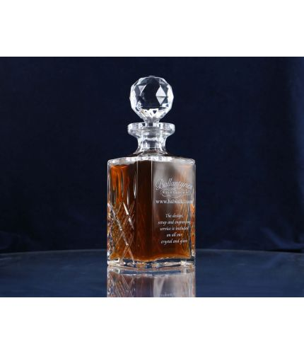 A Panel Cut Crystal Whisky or Brandy Decanter. Design, Setup, pre-approval and Engraving is Included on this piece of Crystal. As this is a J product we only offer transit packing.