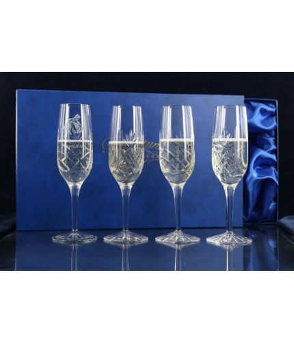 Four Panel Champagne Flutes, Engraved and Gift Boxed