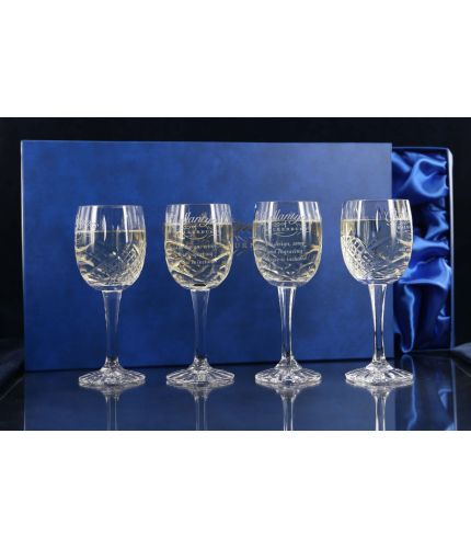 Four Panel White Wine Glasses, Engraved and Gift Boxed