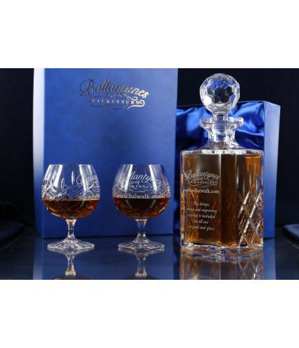 Brandy decanter and goblet gift set with hand engraving. A great retirement gift idea.,