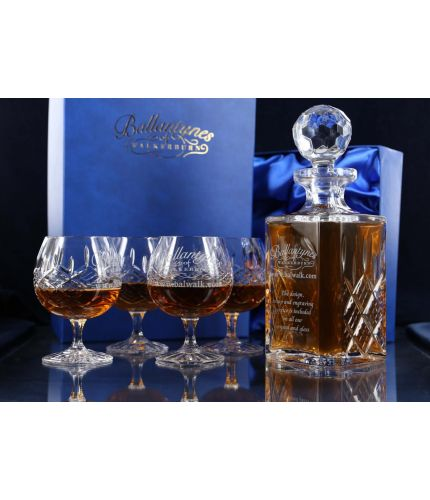 This is a 5 piece brandy, panel cut, hosting set consisting of a decanter and four brandy goblets. We offer hand engraving on the front panels. The set is completed with dark blue satin-lined presentation boxes for display and storage