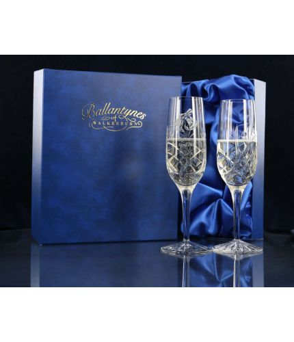 Pair of Panel Champagne Flutes, Engraved and Gift Boxed