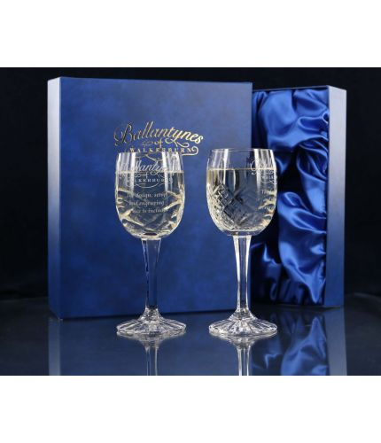 Pair of Panel White Wine Glasses, Engraved and Gift Boxed