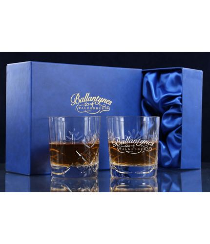 A pair of 24% lead crystal panel cut tumblers with personalised hand engraving and a satin lined presentation box.
