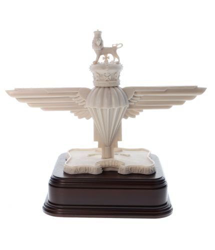 An Ivory Coloured verson of the Parachute Regiment Capbadge. We offer this style of wooden base and an engraved brass plate as standard.
