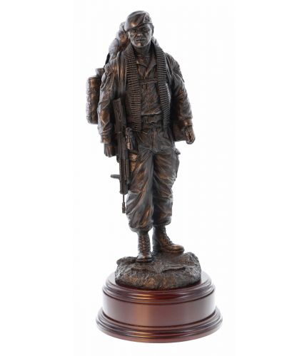 "12"" scale cold cast bronze resin sculpture of a British Airborne Paratrooper returning knackered from a patrol. This makes an ideal military presentation to anyone who's served in the Parachute Regiment. Brass plate included"