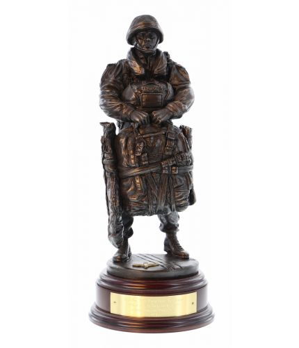 "12"" scale cold cast bronze resin sculpture of a British Airborne Parachute Regiment Paratrooper with a modern LLP Parachute."