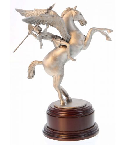 British Airborne Forces, Pegasus, the winged horse of greek mythology carrying Bellerophon to battle with, and slay, the multi-headed gorgon. We offer a choice of wooden base and engraved nickel silver plate