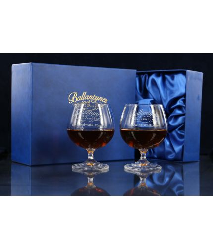 A pair of Plain crystal brandy goblets sold fully engraved with a lovely satin lined gift box.