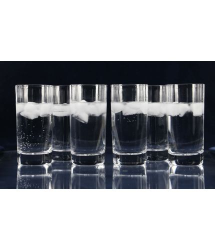 Set of Six Glass Highball Tumblers, Engraved