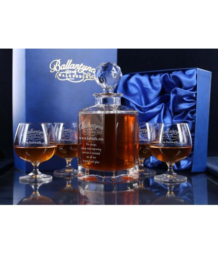 Personalised hand engraved crystal decanter and brandy goblet set, presented in a satin lined gift boxes.
