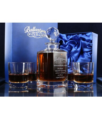 We offer a fully engraved 5 piece crystal whisky hosting set. The set is fully gift boxed and we include set up and design as part of our service.