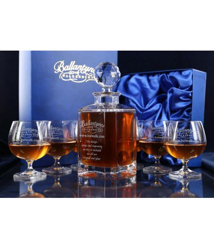 Gift boxed crystal brandy decanter and goblet set, personalise with hand engraved images and text to make a great gift.