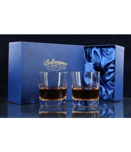 We offer a fully engraved pair of crystal whisky tumblers. The pair are fully gift boxed and we include set up and design as part of our service.