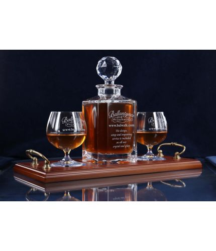 Crystal cognac hosting tray set with hand engraving in gift boxes.