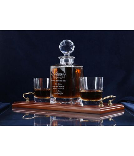 A fully engraved 3 piece crystal whisky serving tray set. The set is fully gift boxed and we include set up and design as part of our service. The tray can include an engraved brass plate on the wooden tray if required.